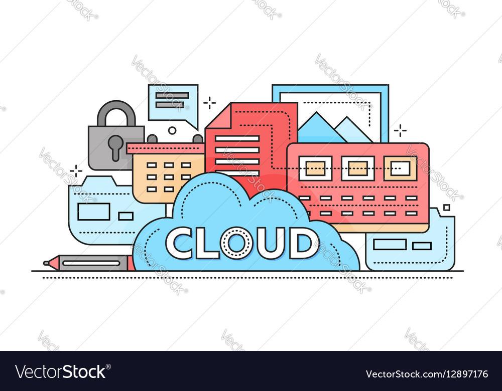 Cloud Storage Technology - flat line design vector image