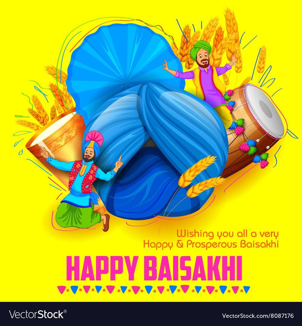 Happy Baisakhi background vector image