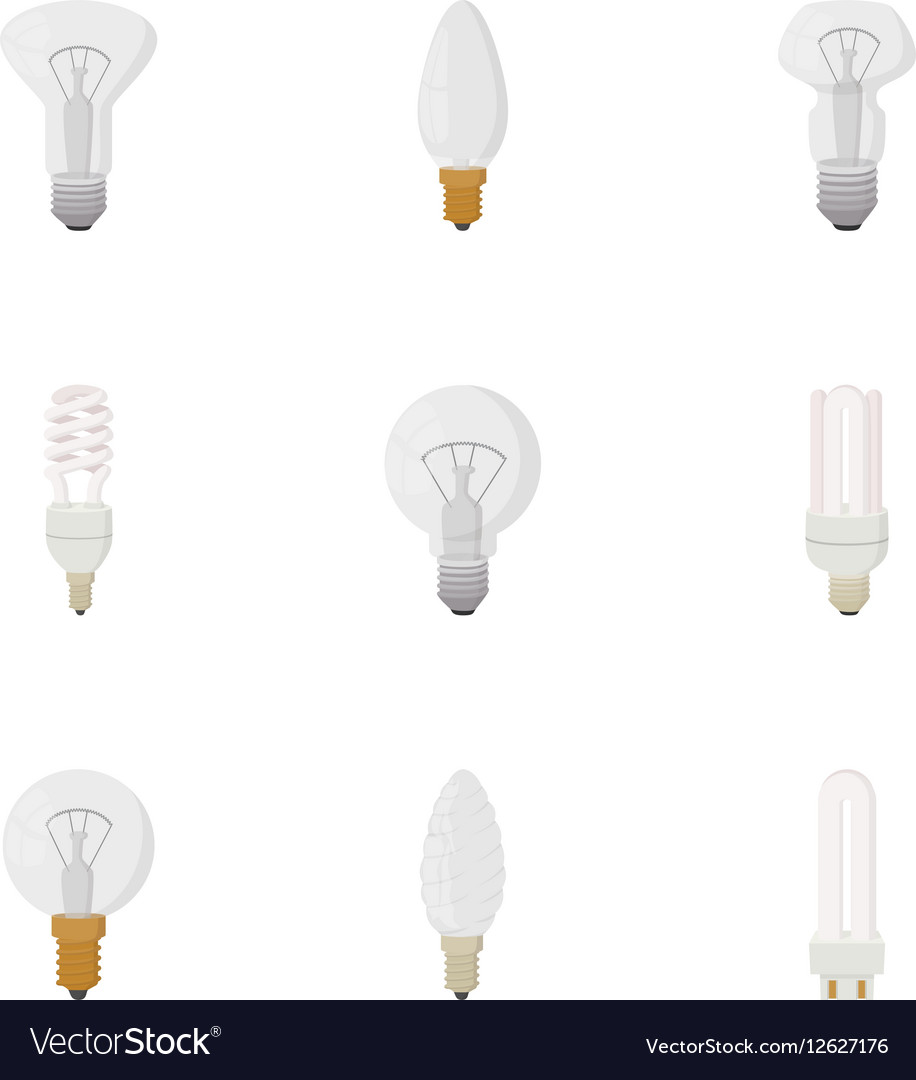 Lamp for home icons set cartoon style vector image