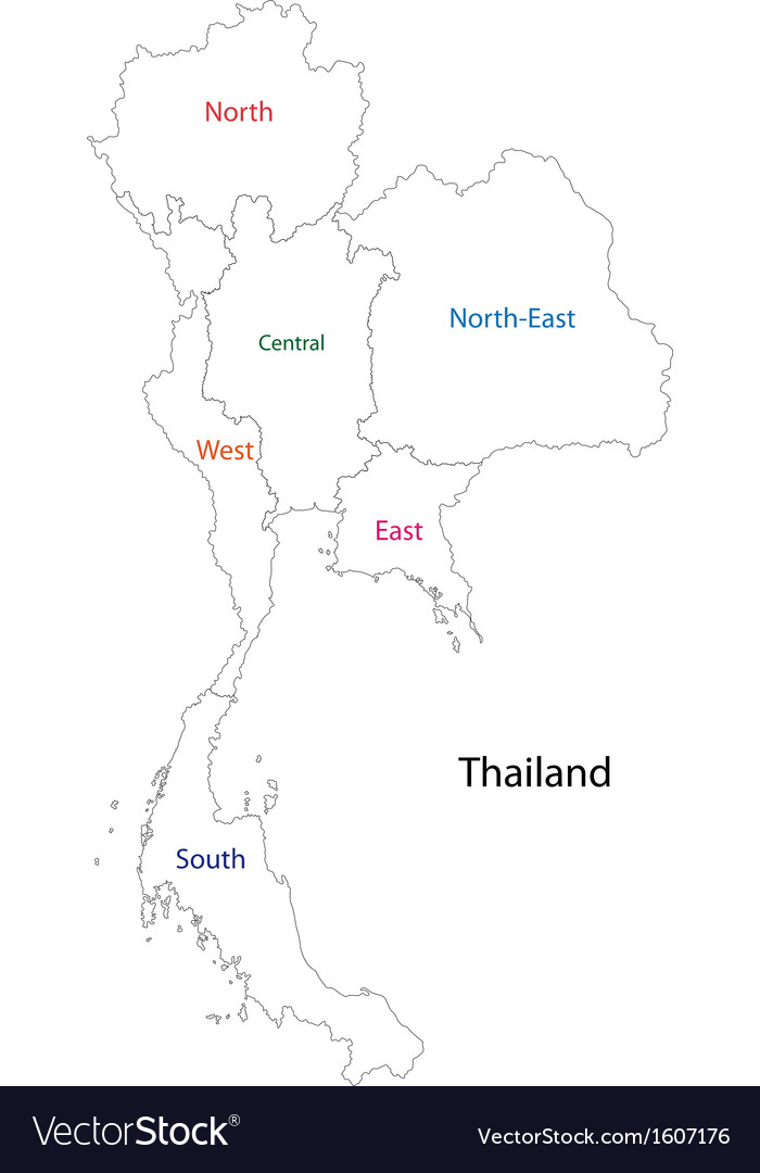 Outline Thailand Map Royalty Free Vector Image - Thailand blank map