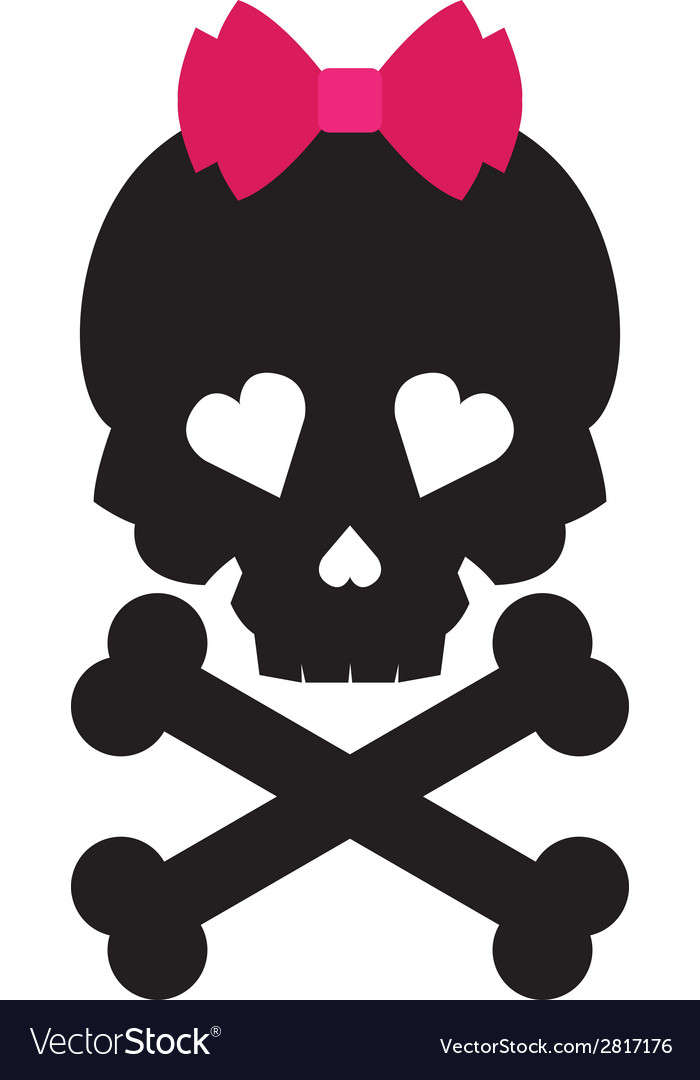 Skull with a pink bow on white background vector image
