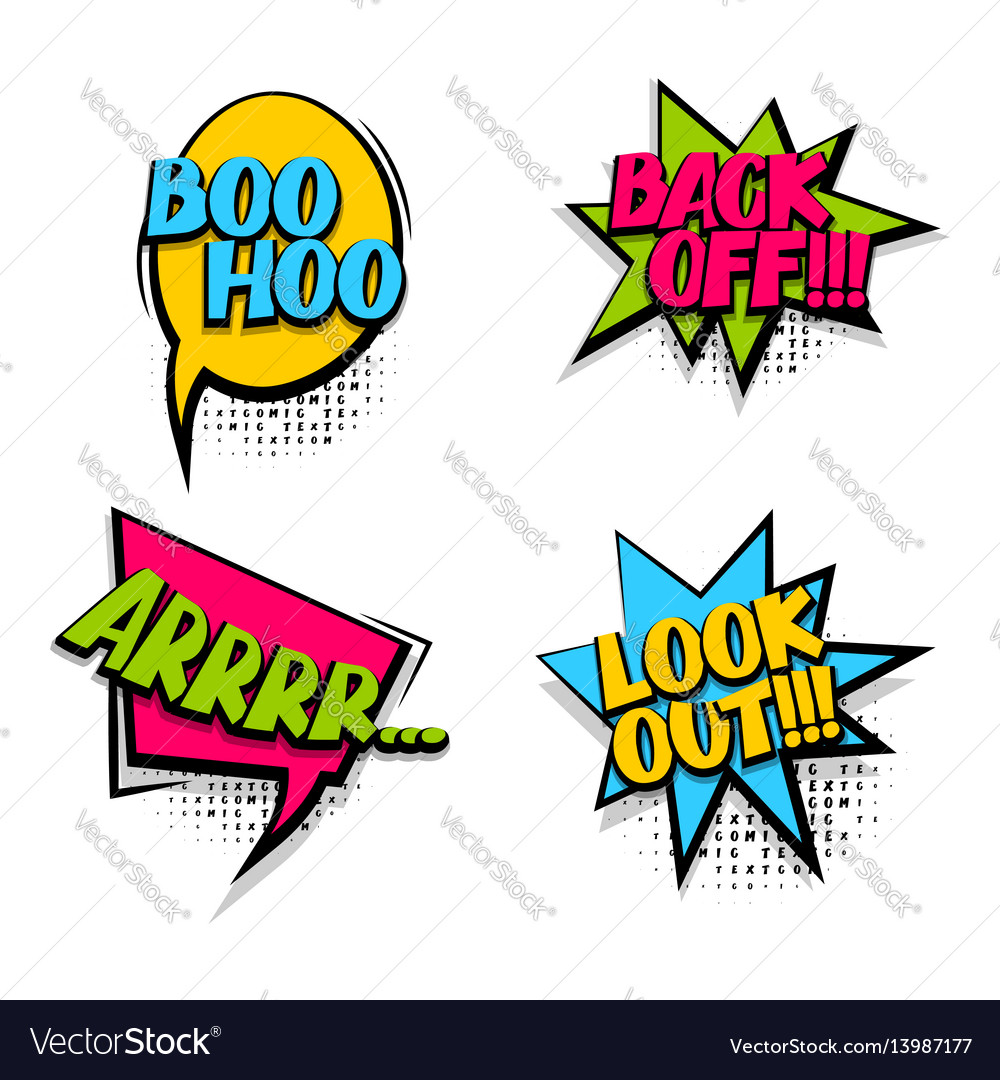 Back off colored comic text babble vector image