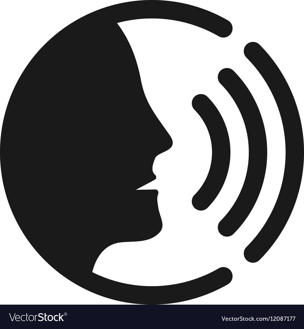 Voice command control with sound waves icon vector image