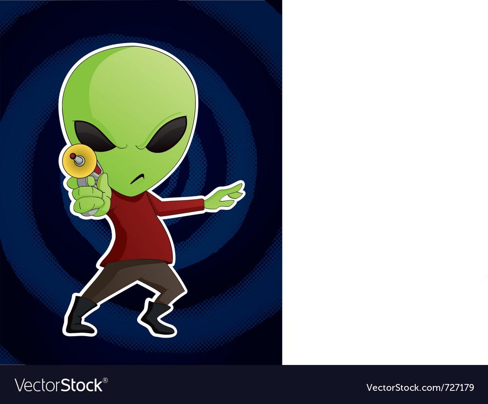 Alien with ray gun vector image
