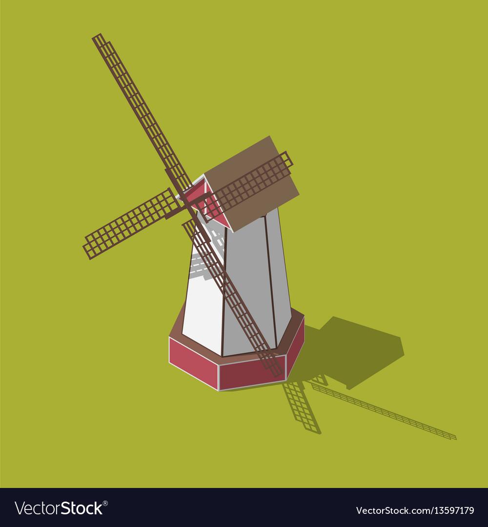 Dutch windmills isometric vector image