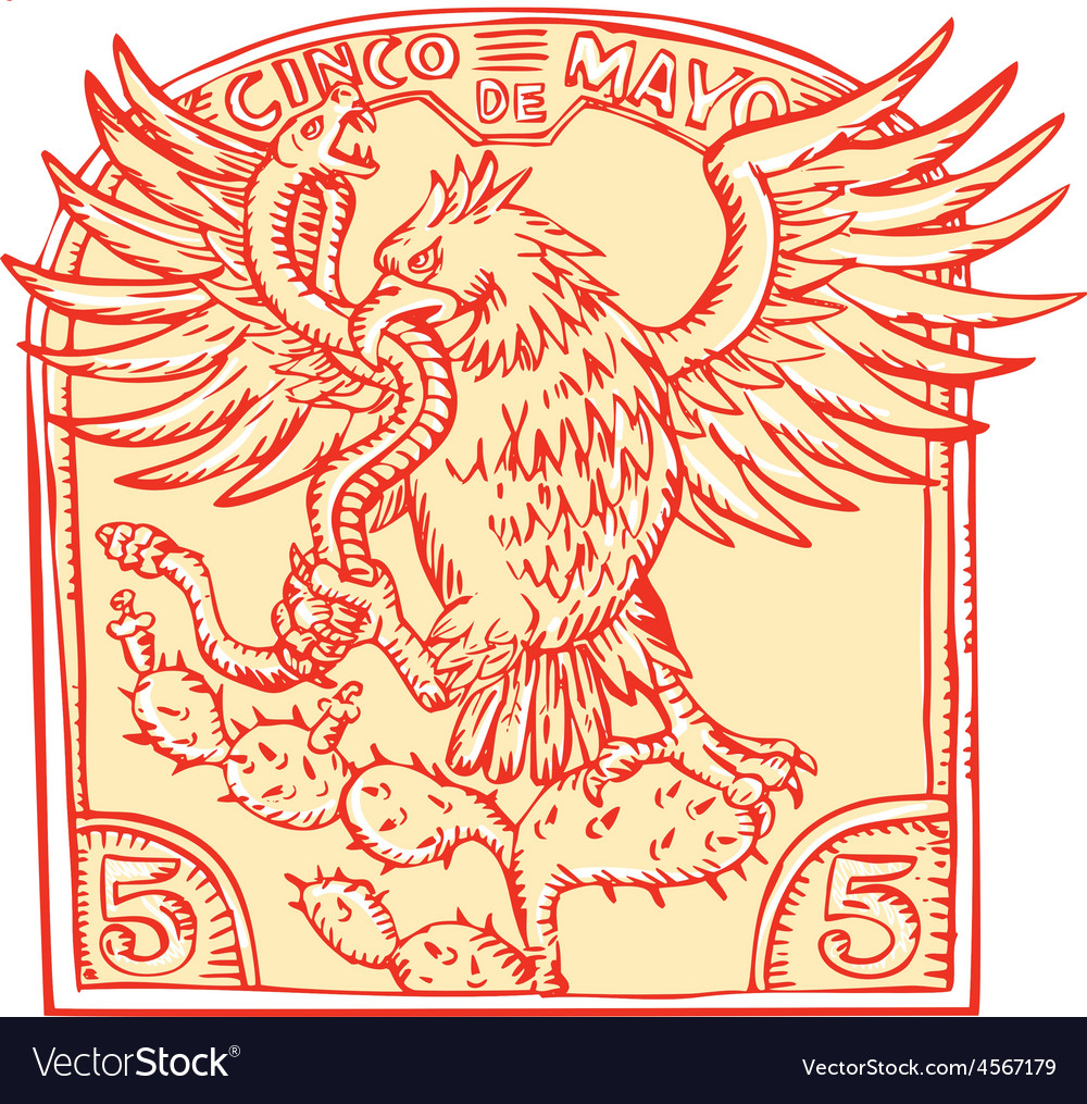 Mexican Eagle Devouring Snake Etching vector image