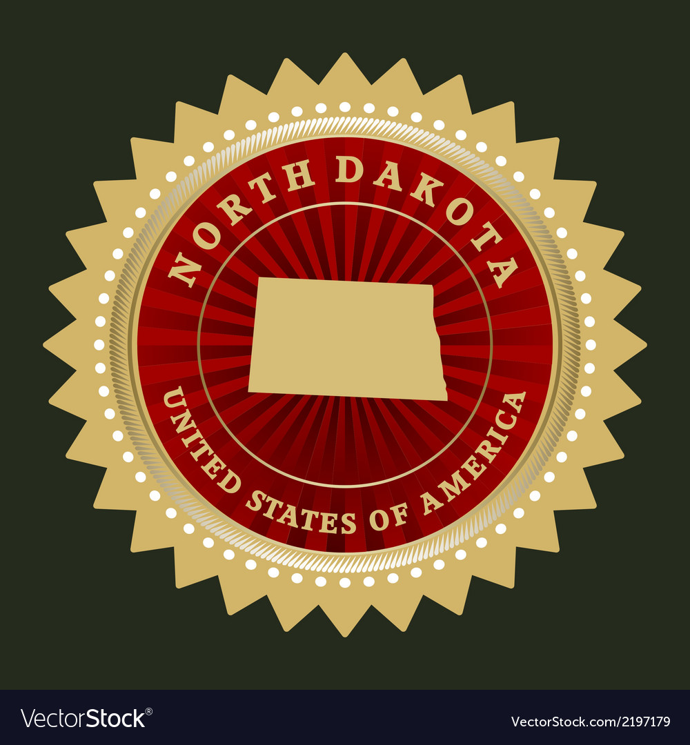 Star label North Dakota vector image
