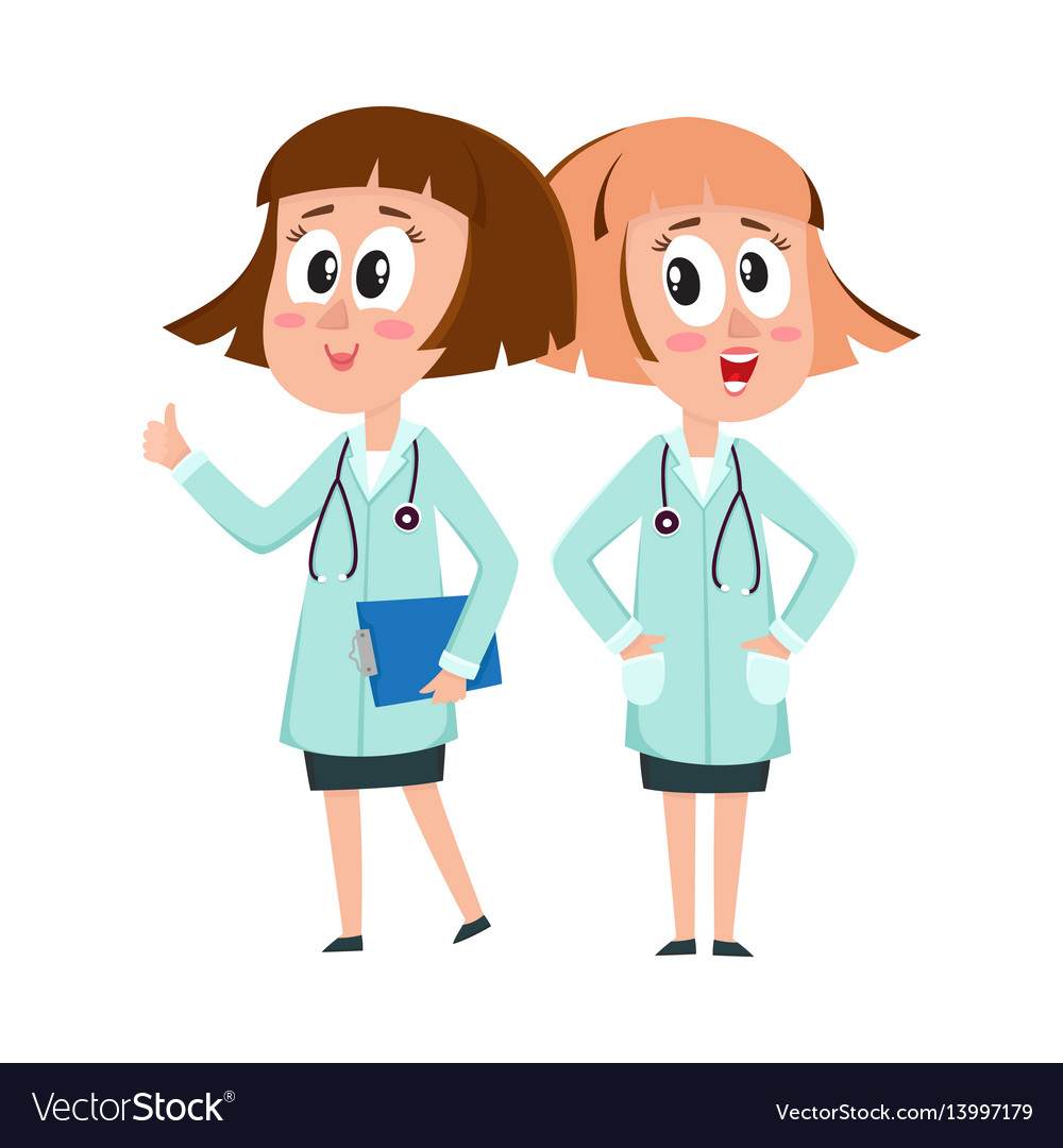 Two comic woman doctor characters thumb up hands vector image
