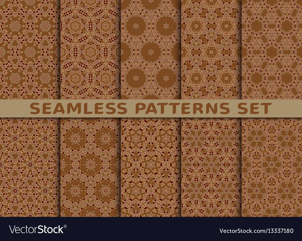 Beautiful geometric seamless patterns set vector image