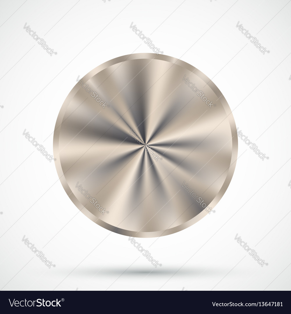 Steel round button vector image