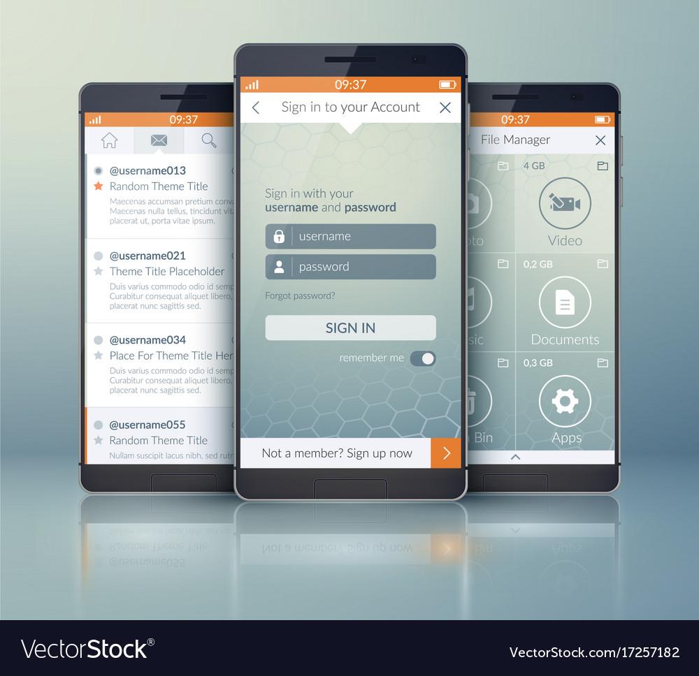 mobile social application design template vector image