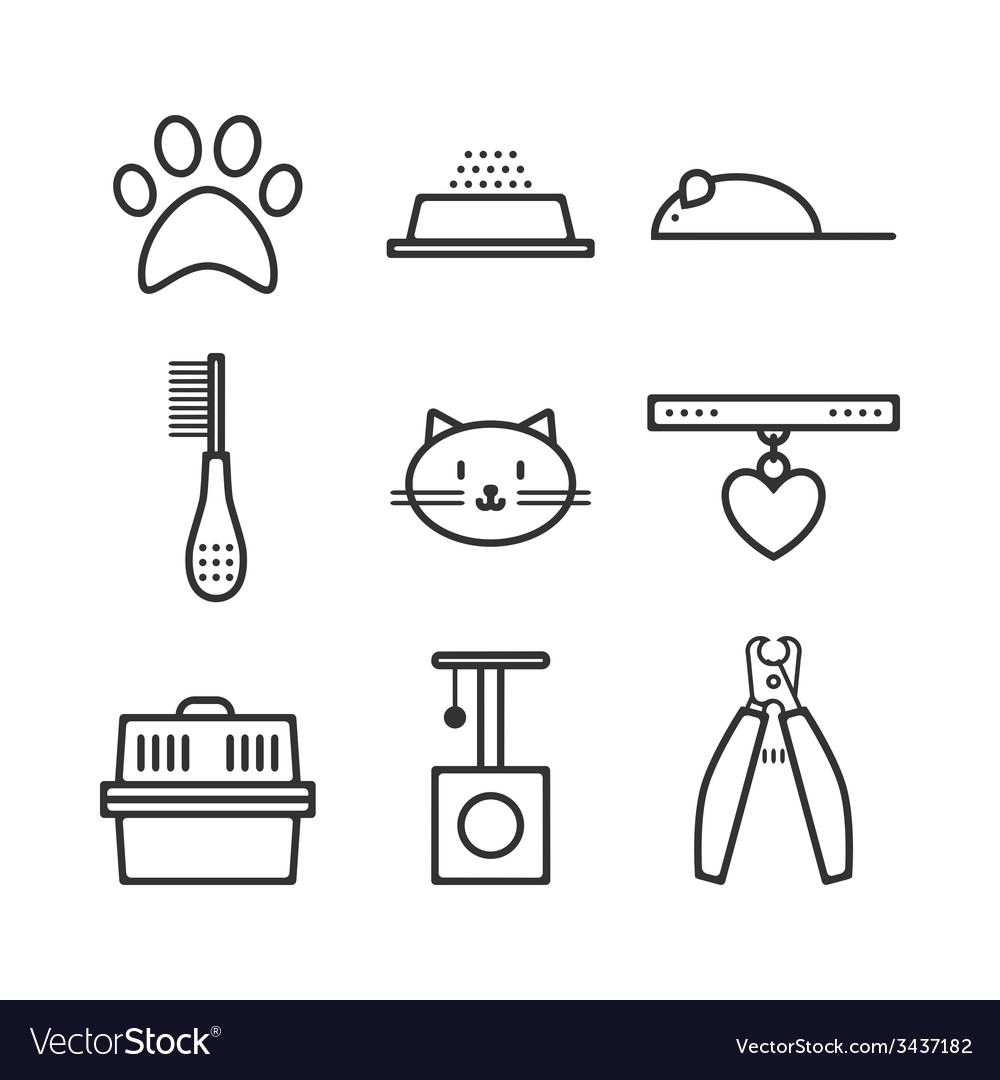 Set of pets icons cat symbols vector image