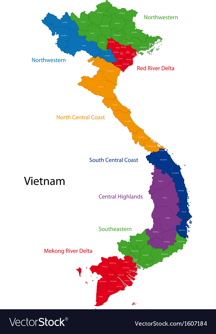 Vietnam map Royalty Free Vector Image VectorStock