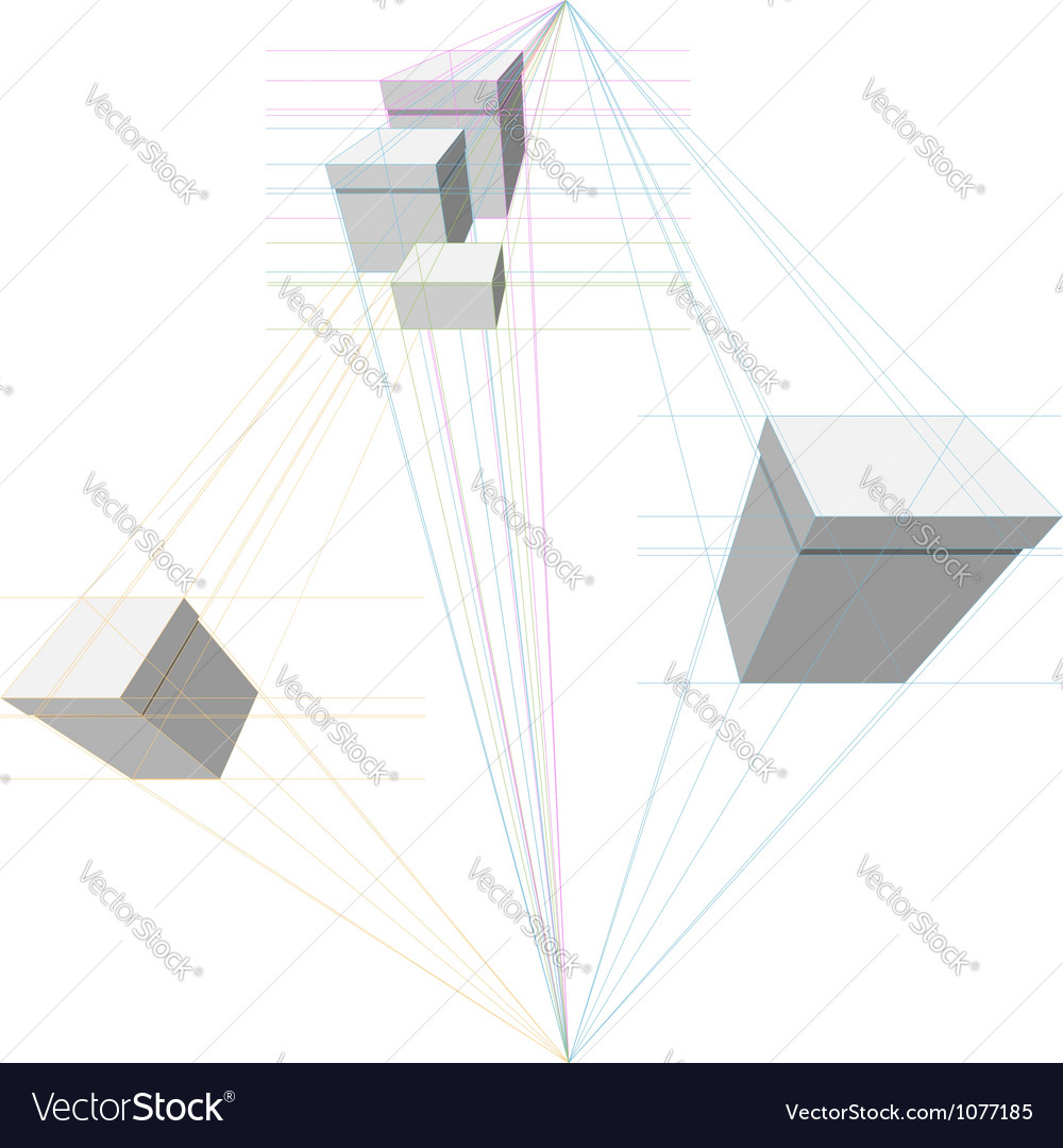 Gift boxes in two-point perspective vector image