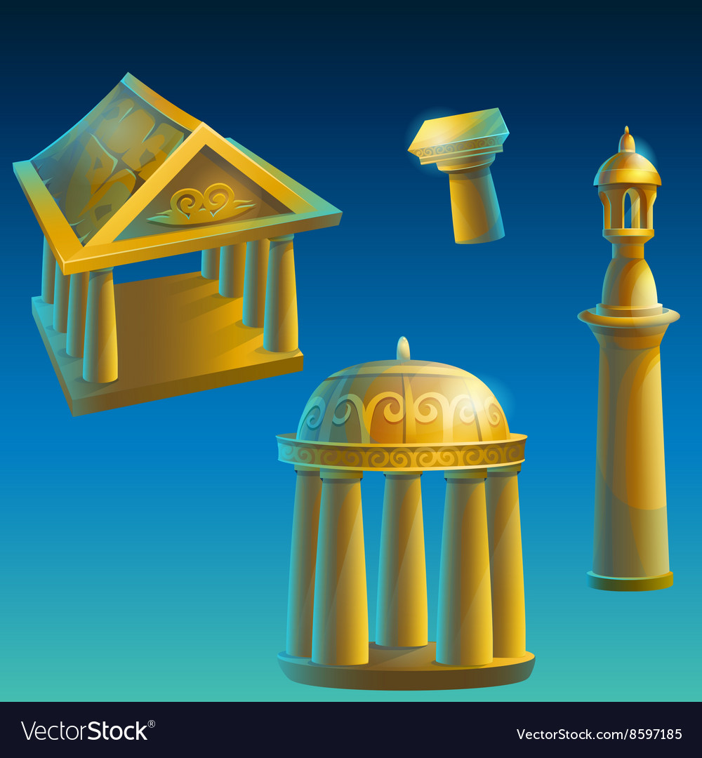 Set of ancient ruined buildings vector image