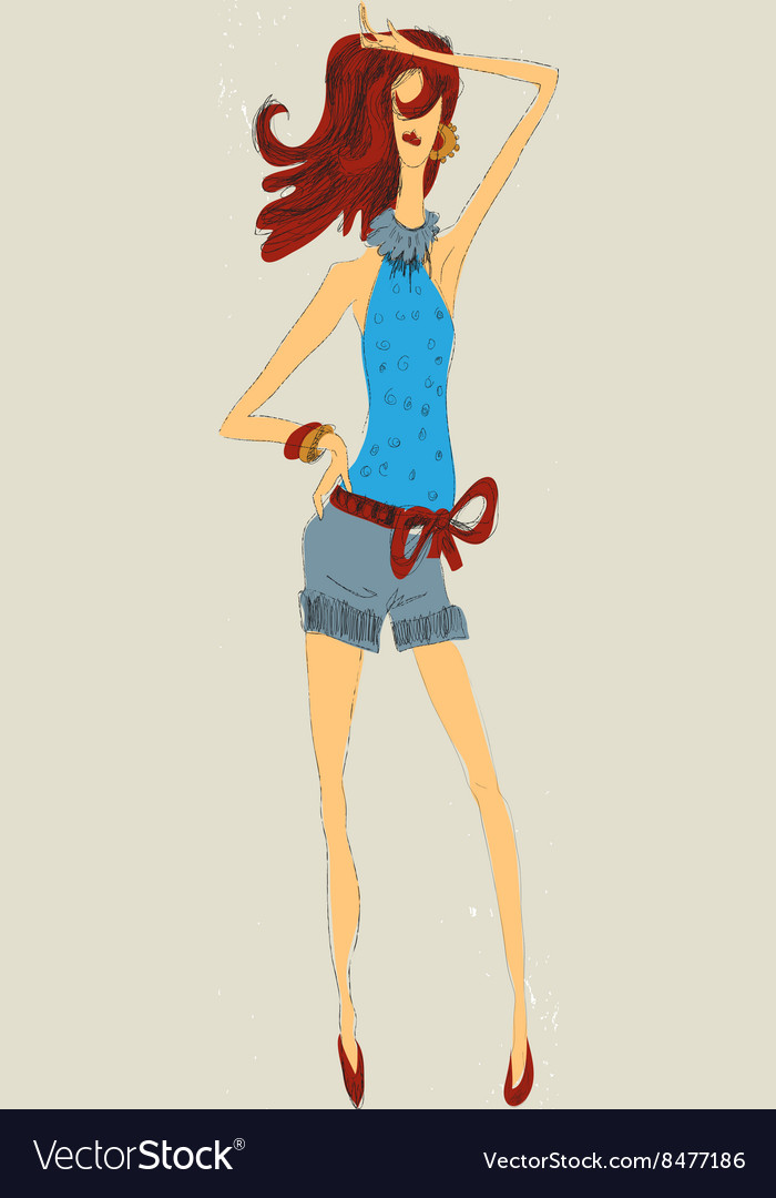 Fashion girls in shorts vector image