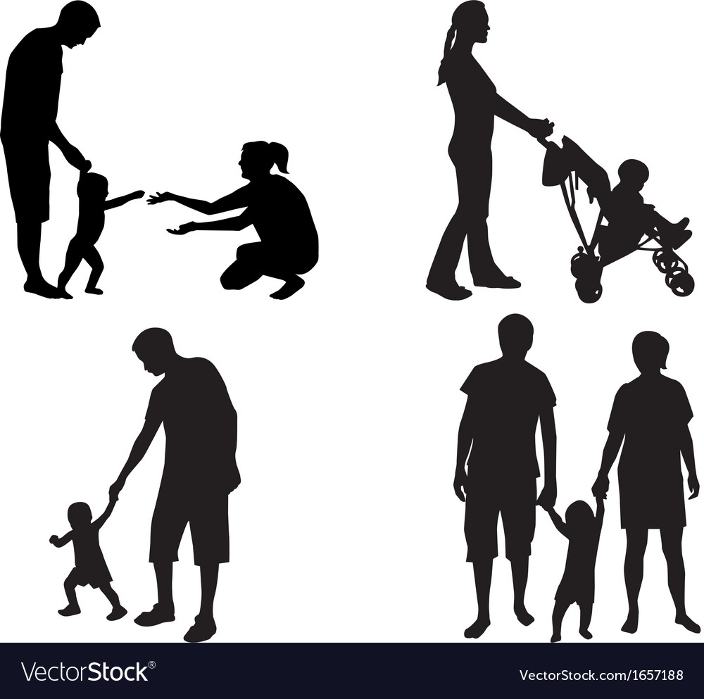 Silhouettes of families with children vector image
