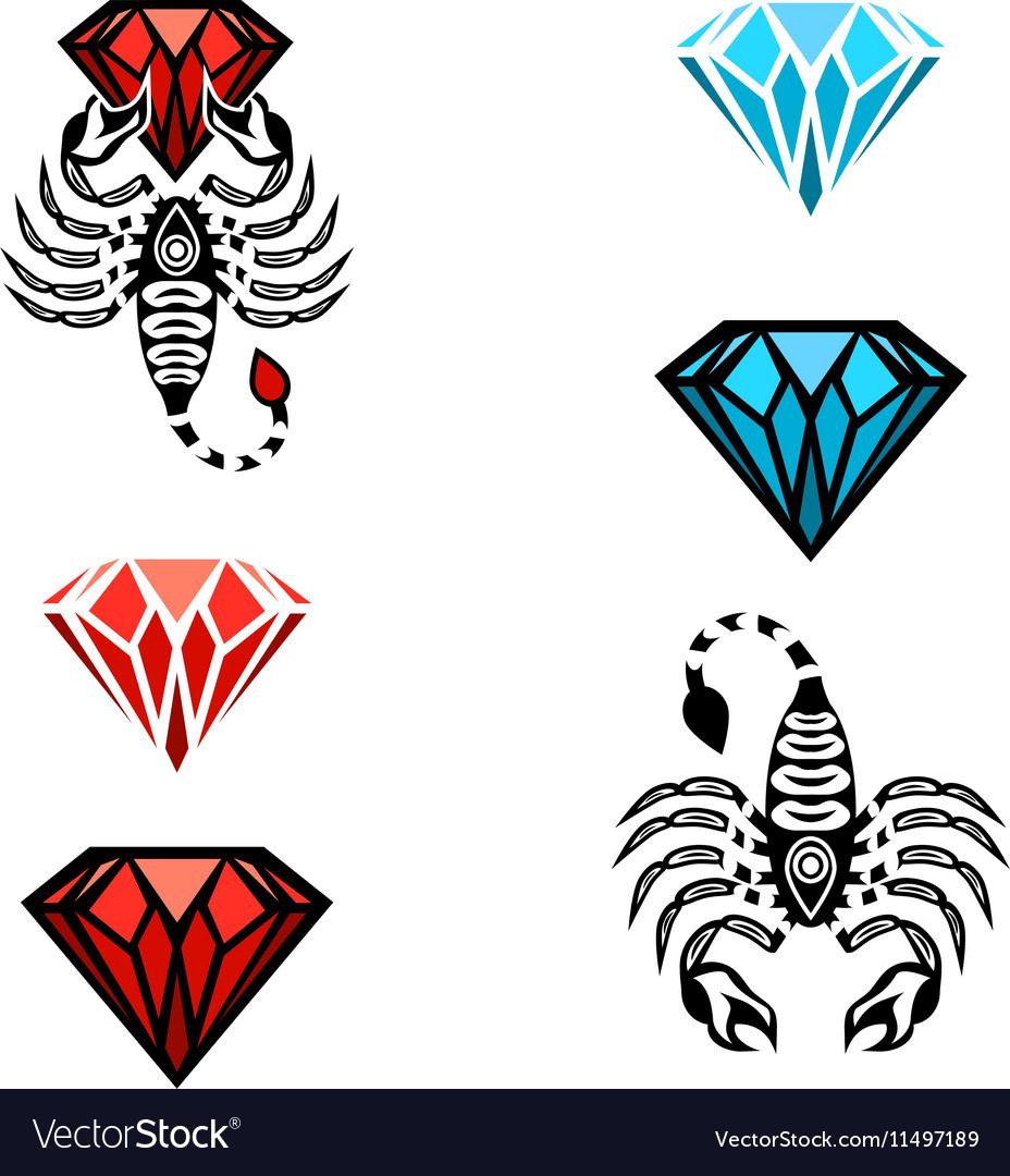 Scorpion and Diamond Logo Design vector image