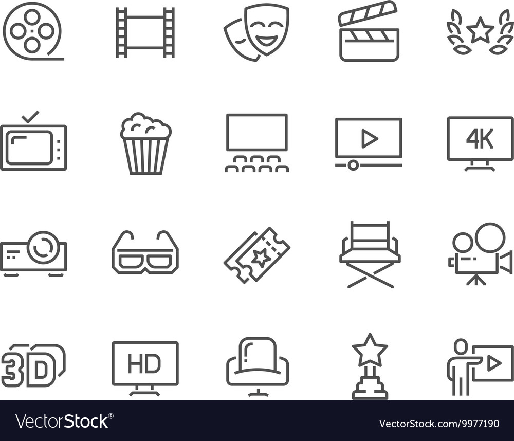 Line Cinema Icons vector image