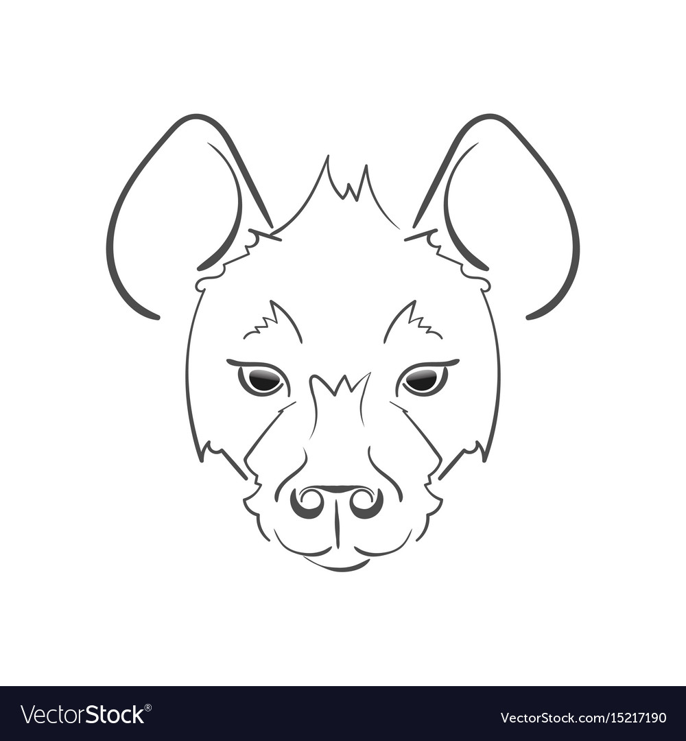 Stylized muzzle hyena black and white sketch for vector image