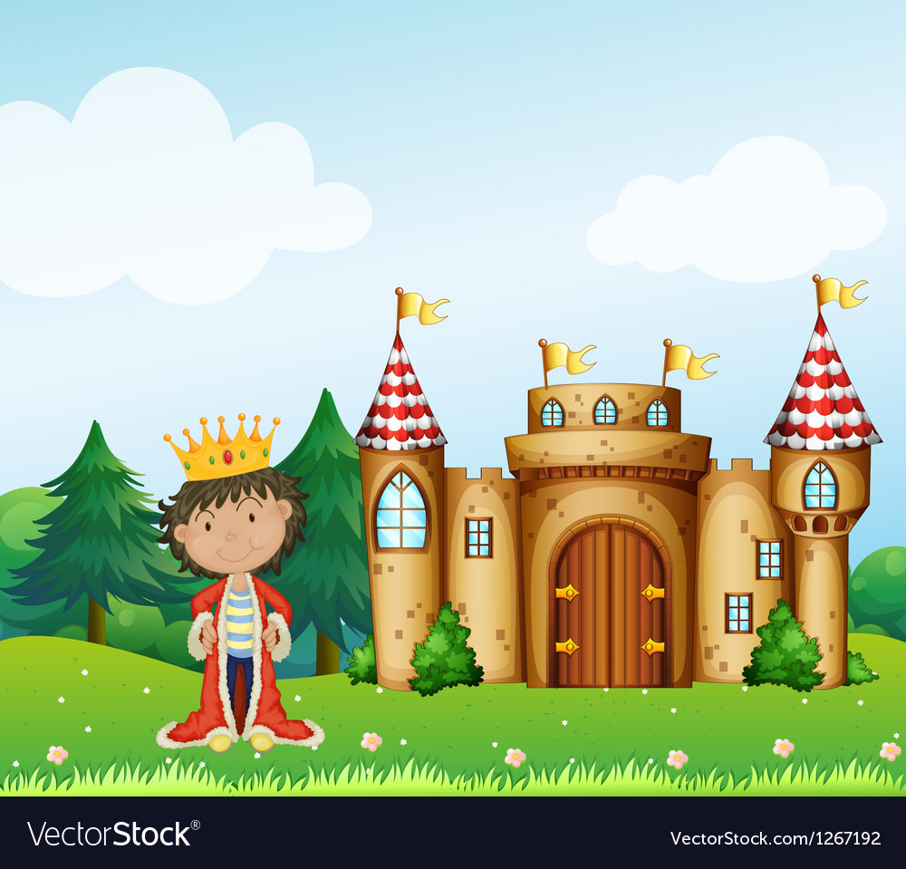 A king in front of his castle Vector Image