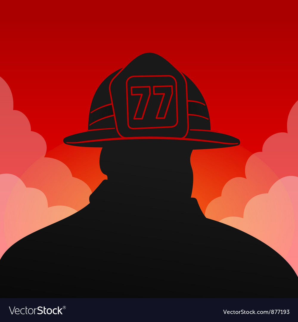 Red Fireman Silhouette vector image