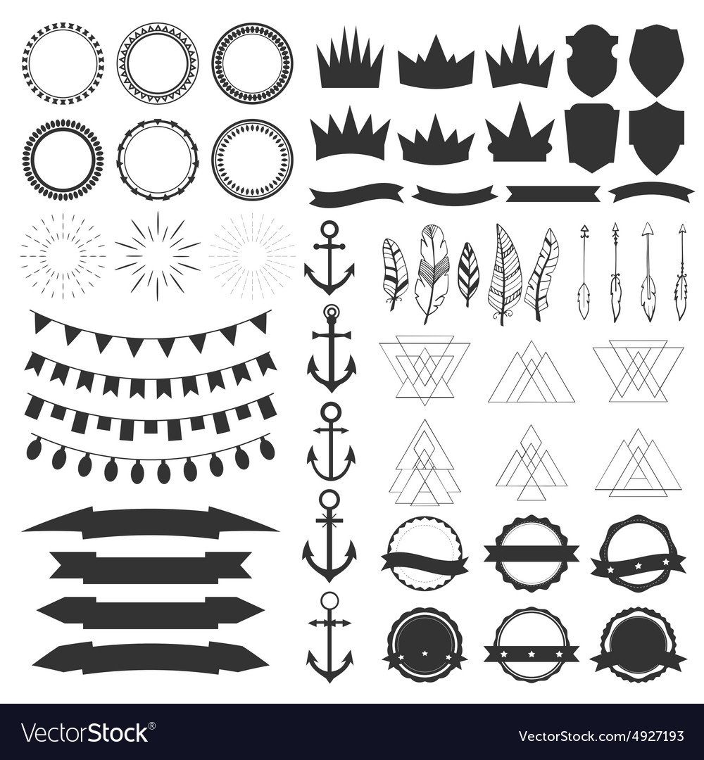 Collection of shields badges and labels design vector image