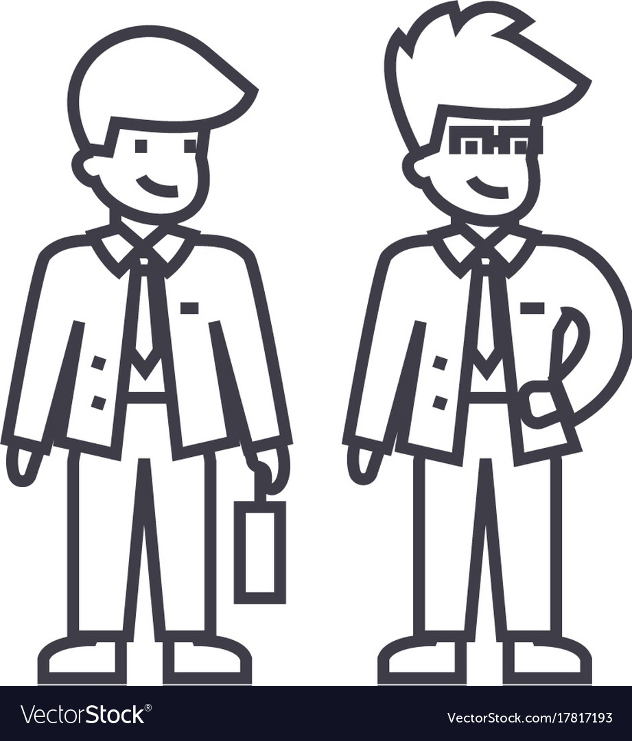 Young businessmen line icon sign vector image