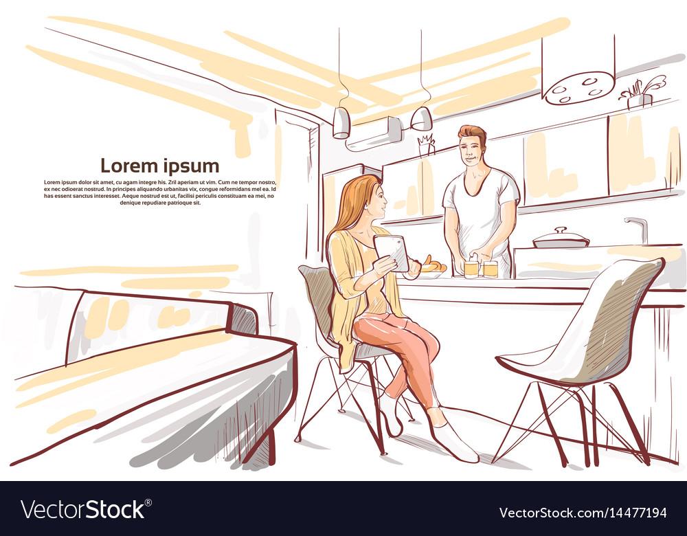Couple having breakfast woman show tablet vector image
