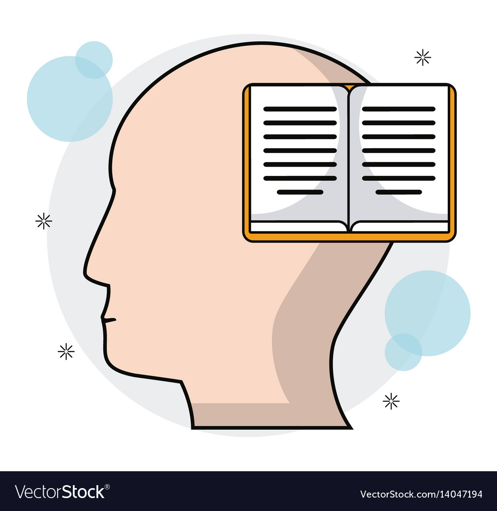 Head human profile book learning vector image