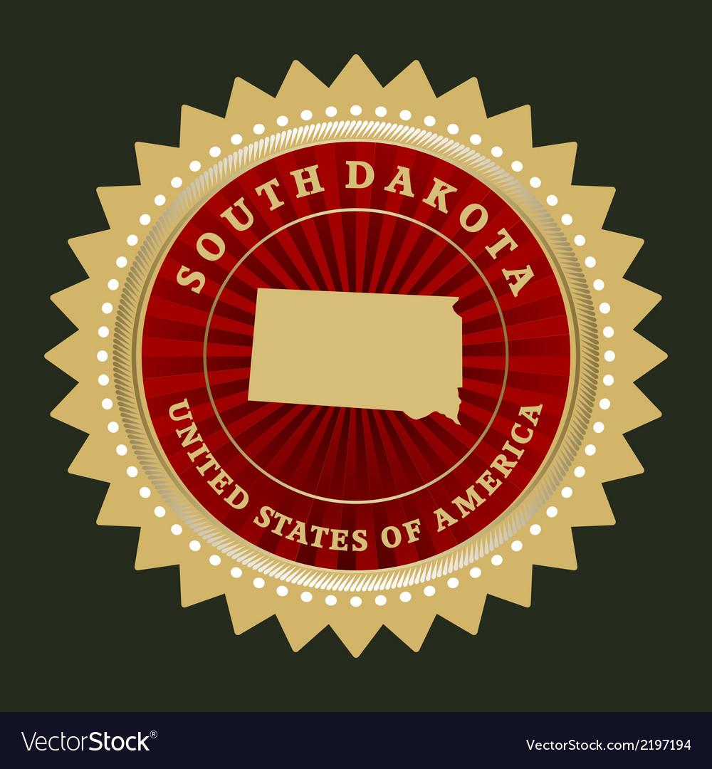 Star label South Dakota vector image