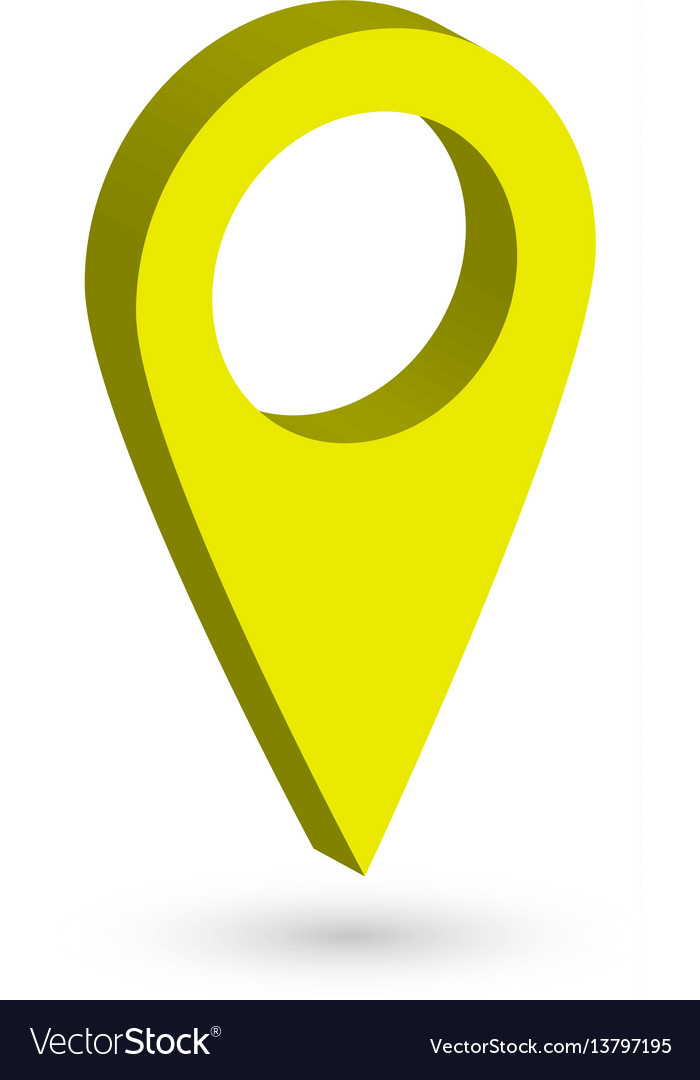 Yellow 3d map pointer with dropped shadow on white vector image