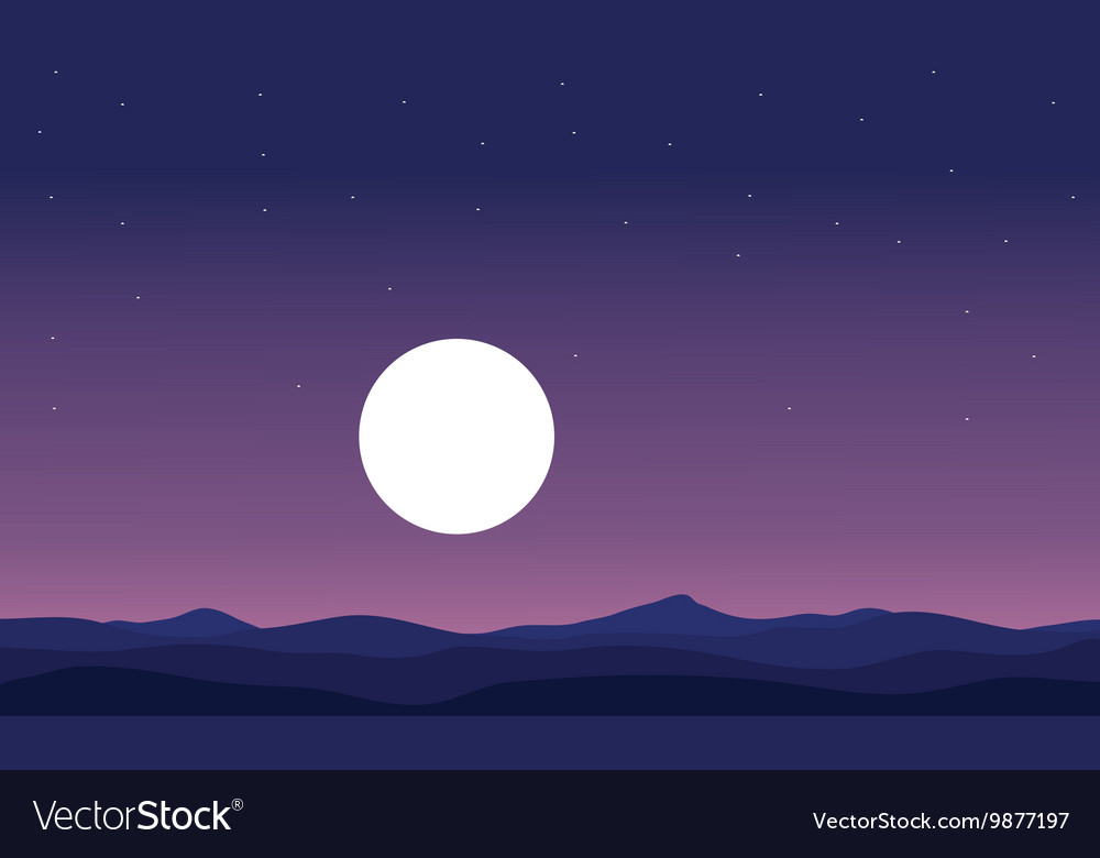 Landscape hill and full moon silhouette vector image