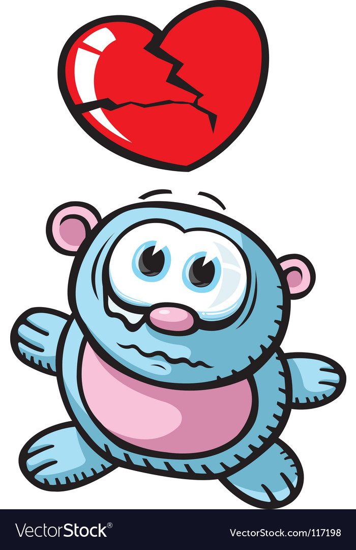 Broken heart bear vector image