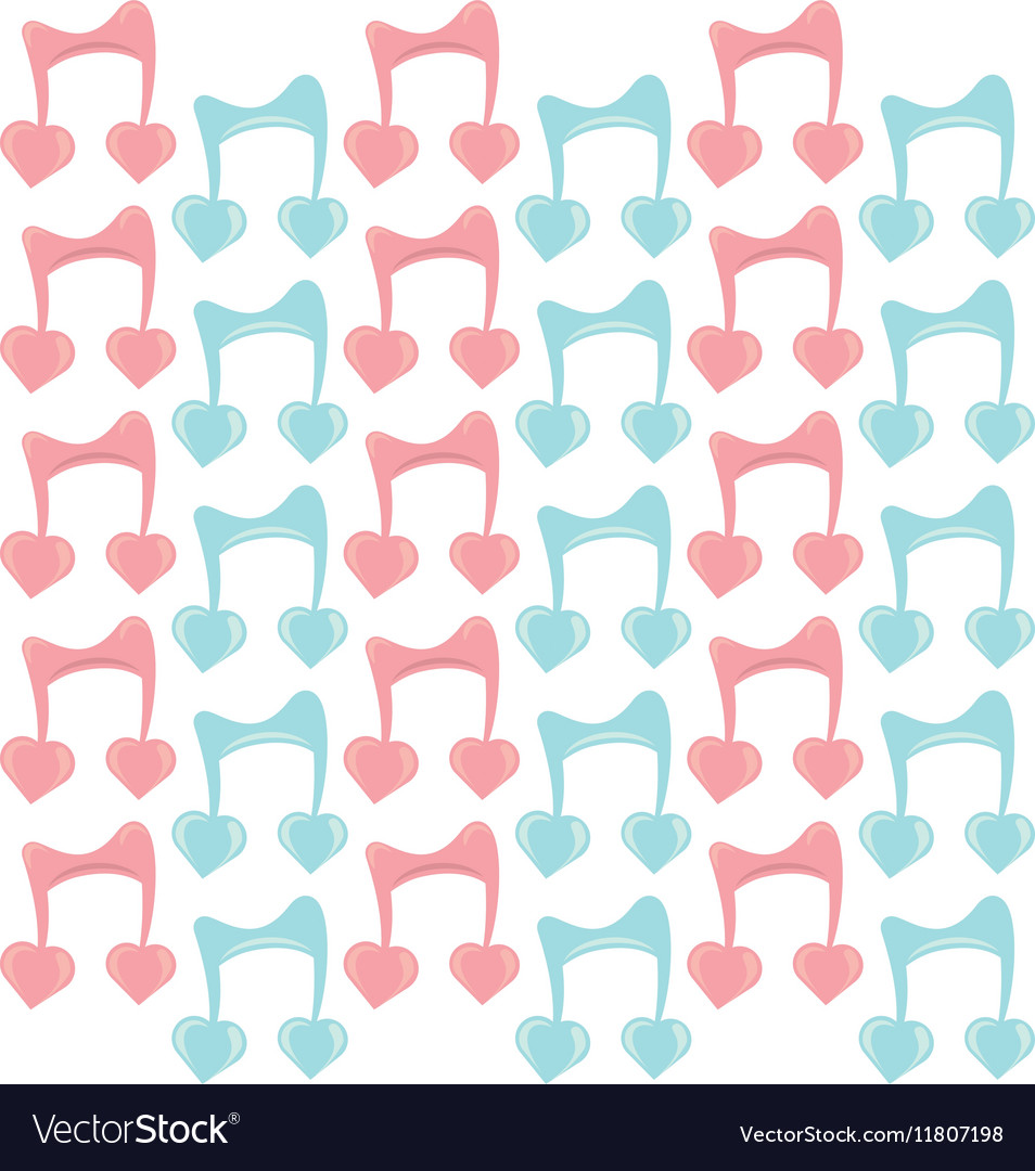 Musical note with hearts seamless pattern vector image