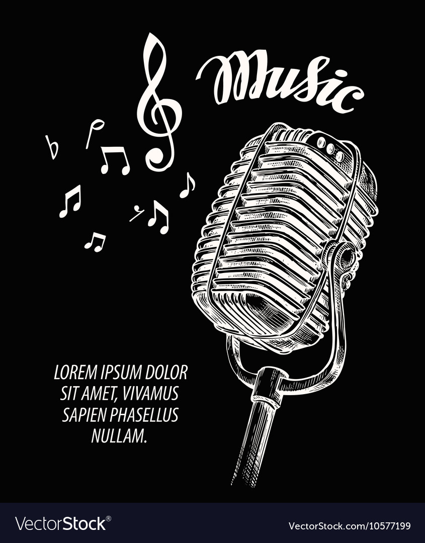 Hand drawn vintage microphone vector image