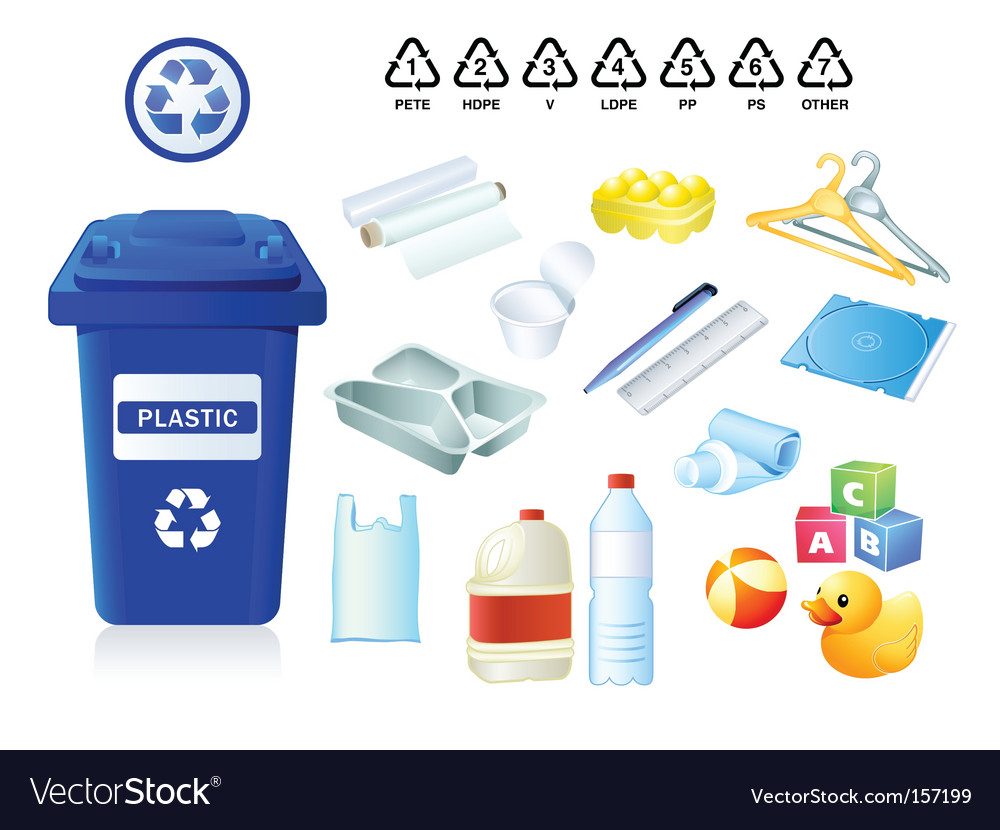 Plastic re-cycle waste vector image