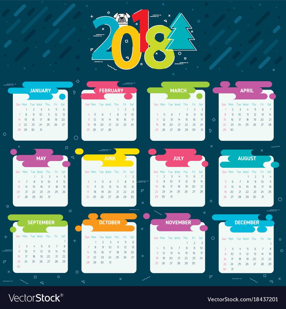 2018 calendar grid for a year vector image