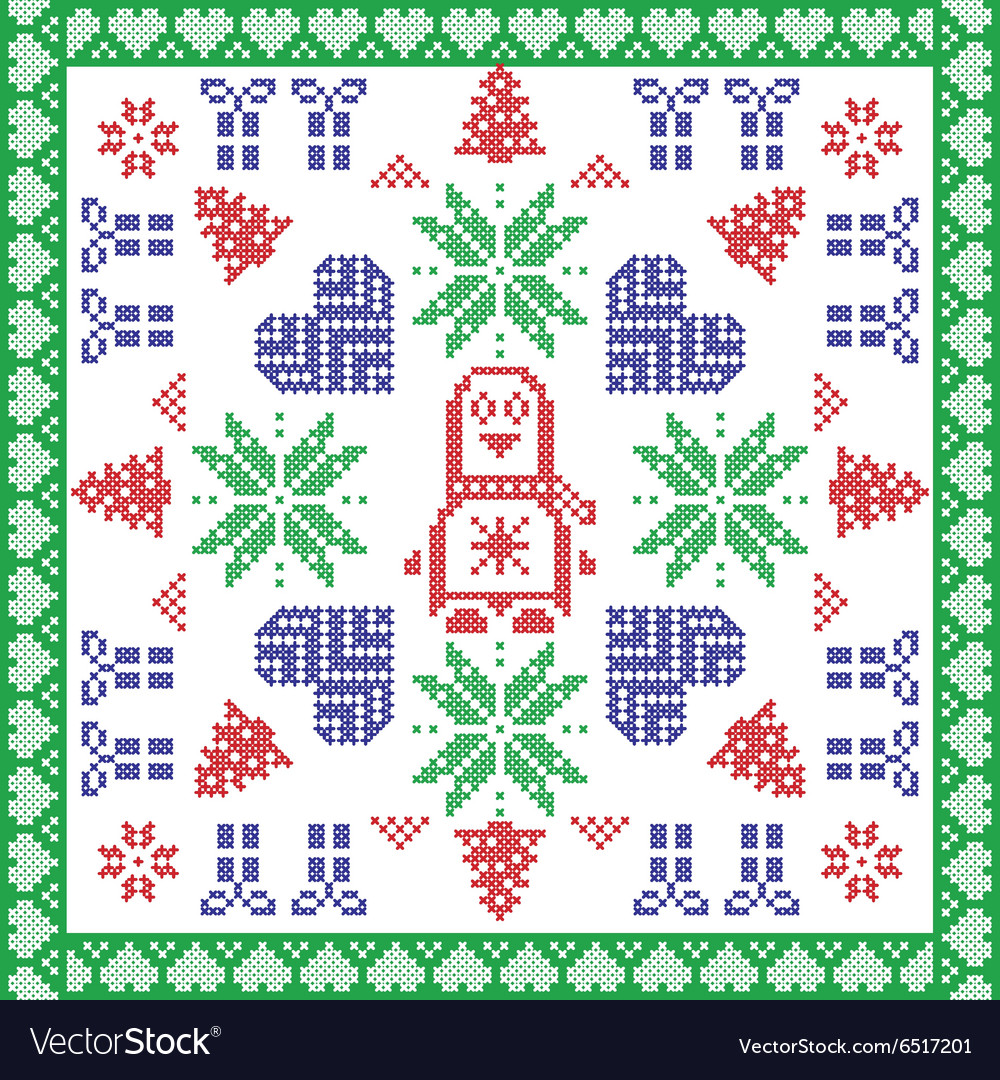 Scandinavian Nordic winter cross stitch knitting vector image