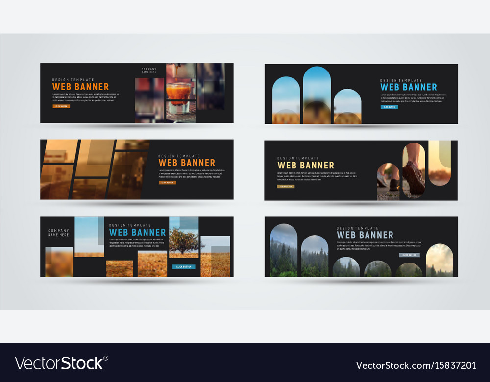 Set of black horizontal web banners of standard vector image