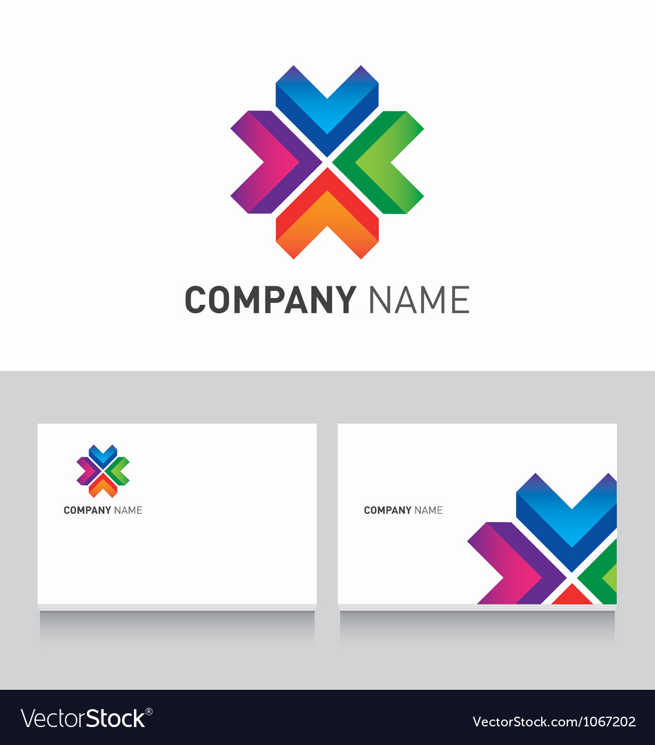 Logo colored and business card template Royalty Free Vector