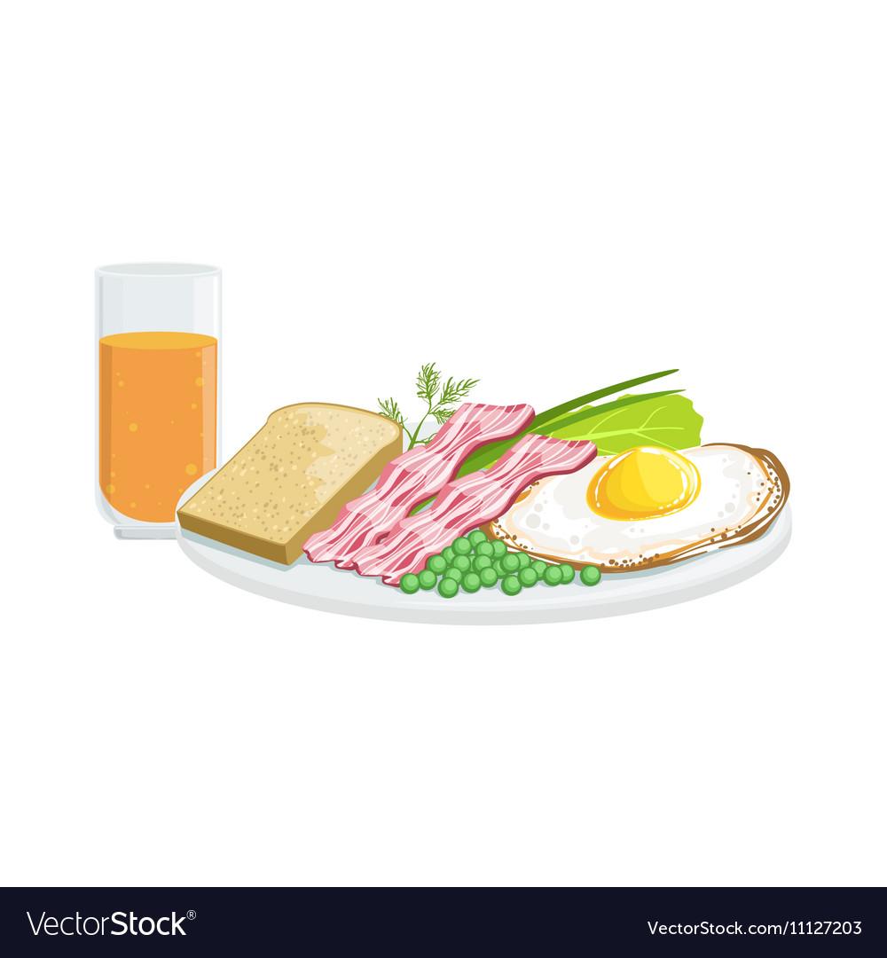 Full English Breakfast European Cuisine Food Menu vector image