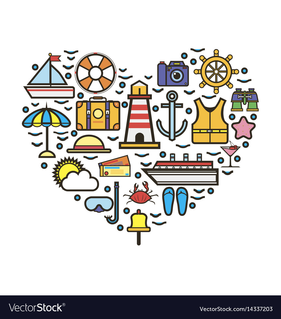 Heart made with vacation attributes vector image