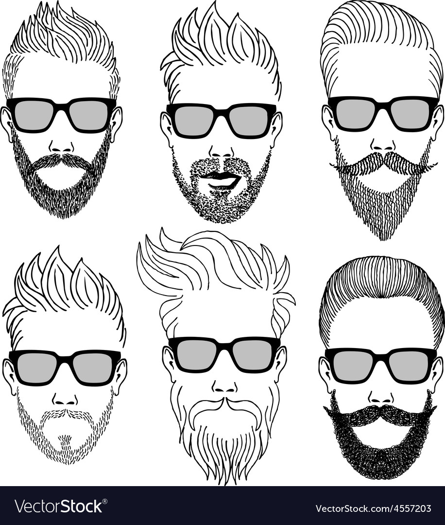 Hipster faces with beard set vector image