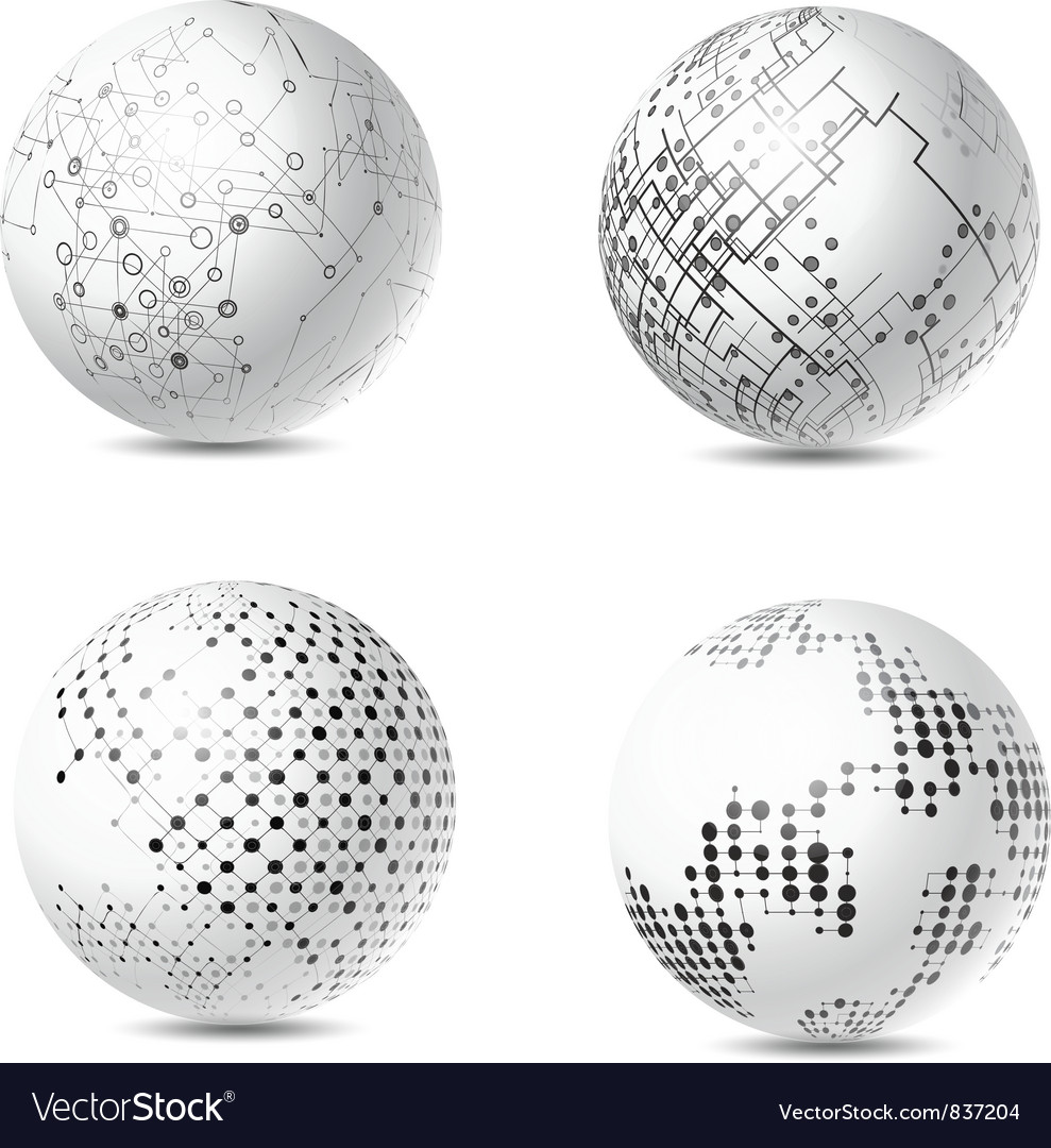 Abstract Tech Spheres Vector Image
