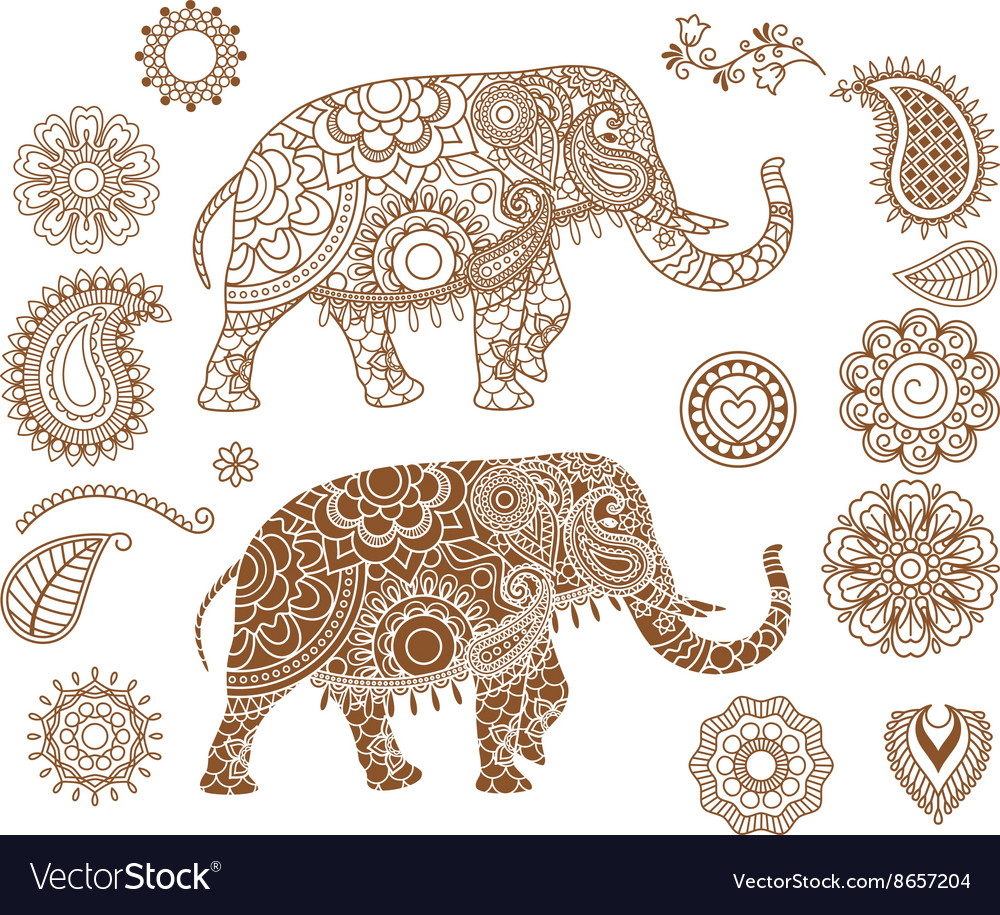 Indian elephant with mehendi patterns vector image
