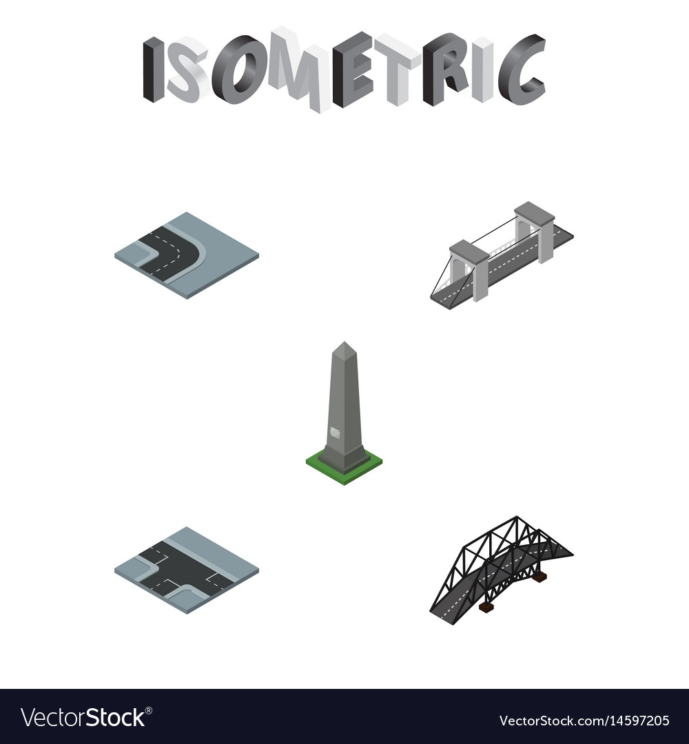 Isometric architecture set of crossroad highway vector image