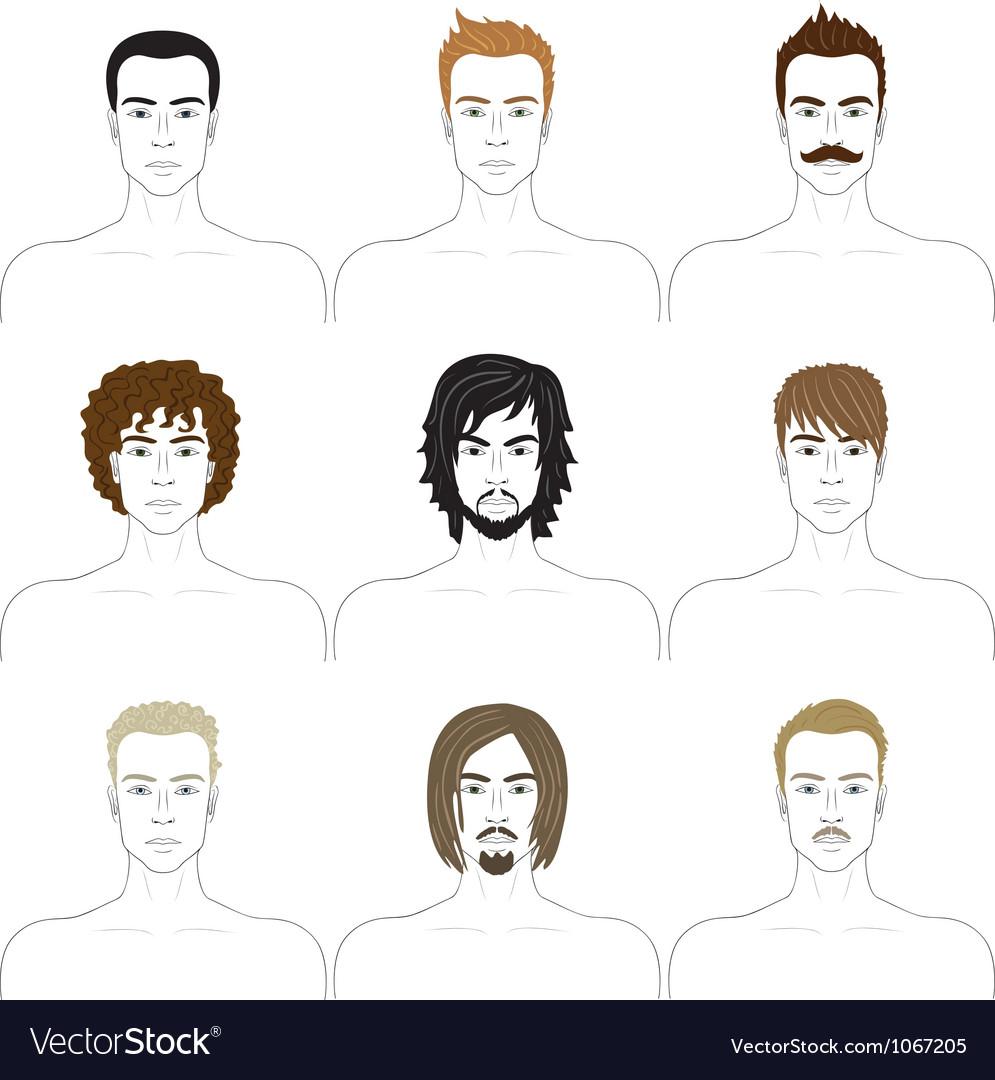 Men faces set vector image