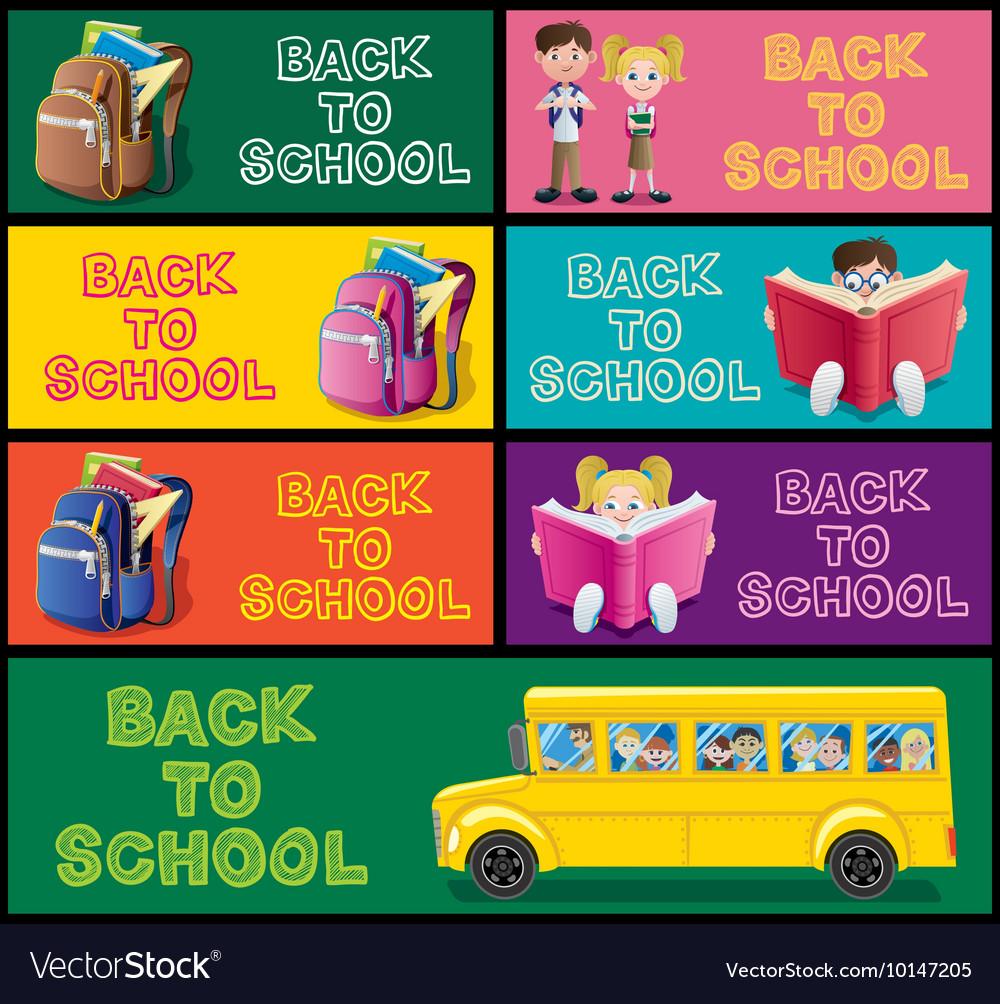 School Banner Set Part 1 vector image