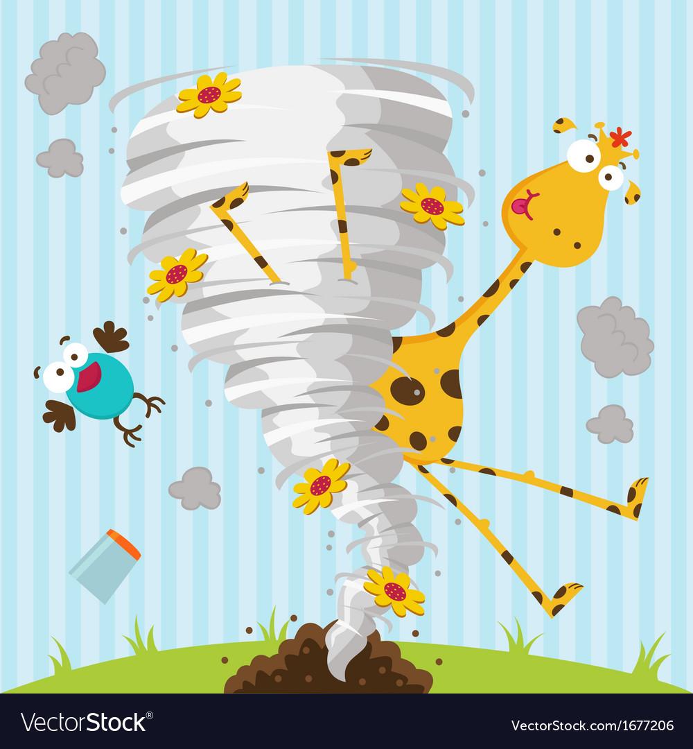 Giraffe bird and tornado vector image
